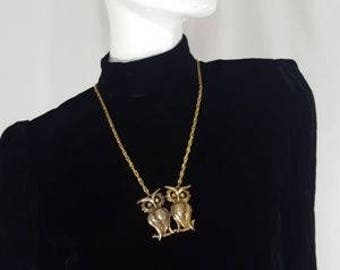 Vintage Owl Gold Necklace 2 Two Perched Owls 60s