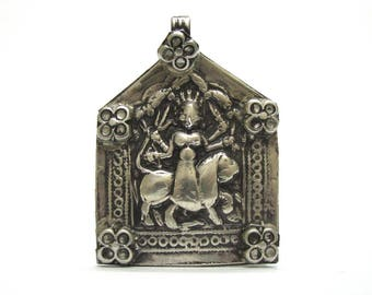 Antique Indian Amulet, Rajasthan, Goddess Durga Pendant, Old Indian Amulet,  Patri Amulet, High Grade Silver, 19.3 Grams