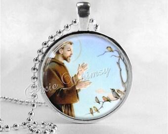Saint francis assisi etsy saint francis of assisi pendant necklace jewelry christian gift religious photo art necklace aloadofball Choice Image