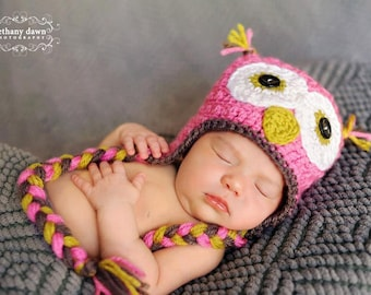 Crochet Owl Beanie with Braids