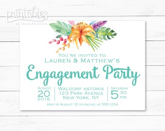 Boho Engagement Party Invitation Tropical Engagement Party