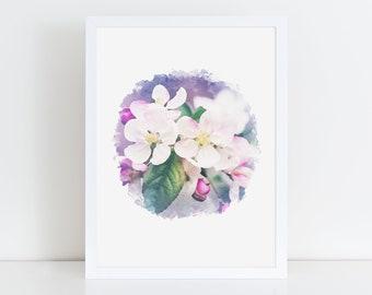 Botanical print download, digital art print, printable circle wall art, floral artwork, watercolor flower wall art, digital art for kids