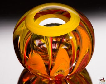 Handblown Glass Paperweight - Hot Color Streaks with Yellow Ring and Lens Top
