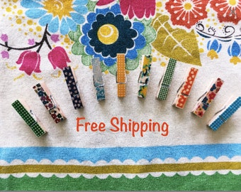 Decorative Mini Clothespins/Pegs Set of 10/ Free Shipping