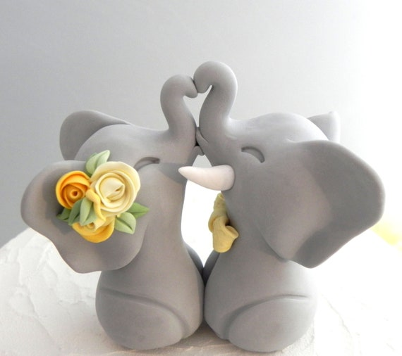Wedding Cake Topper, Elephants in Love, Grey and Shade of Yellow, Bride and Groom Keepsake