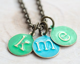 Small Letter Charm Necklace, Mother's Day Gift,Triple Initial Necklace,Color Initial Necklace,Color Letter Necklace,Lower Case Letter