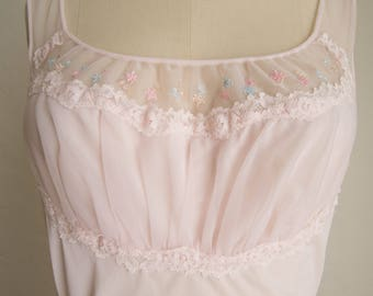 Pastel Pink 50's Nightie w/ Pink, Blue, & Tan Embroidery