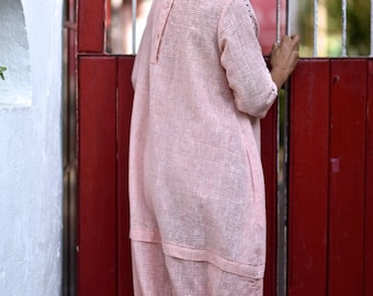 Small - Minsk, Pure handloom kalacotton Pink and white check dress with elastic at hem