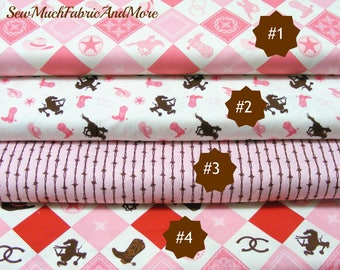 Cowgirl Pinks Fabric~by the yd & 1/2 yd-4 selections~Riley Blake~Western~Cotton~Horses~Barbed Wire-Cowgirls
