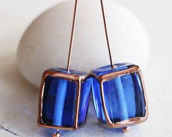 Handmade Glass Beads - Czech Lampwork Beads - Czech Glass Beads - Jewelry Making Supply - 10x14mm Rectangle - Sapphire Blue - Choose Amount