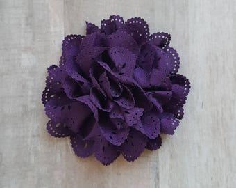 "4"" Eggplant Purple Eyelet Flower, large flower puff, Purple fabric flower, Eyelet flower, DIY supplies, Headband flower, Flower Hair Clip"