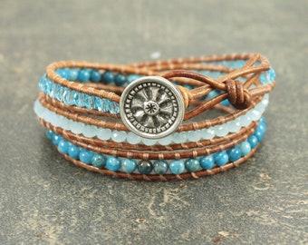 Mandala Jewelry Silver Turquoise Mandala Bracelet Turquoise Leather Wrap Bracelet