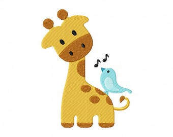 Giraffe singing bird embroidery design