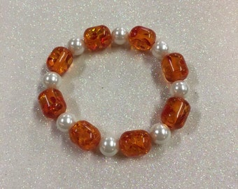 Amber and Pearl Beaded Bracelet