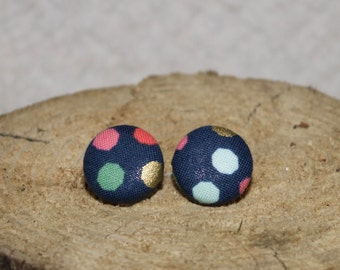 Navy Hexie Dot Stud Earrings