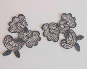 2 dark grey applique in fine lace 6.5 x 6 cm