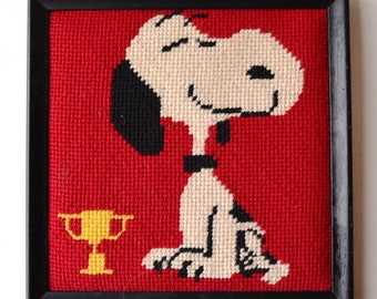 Snoopy with Trophy Framed Needlepoint
