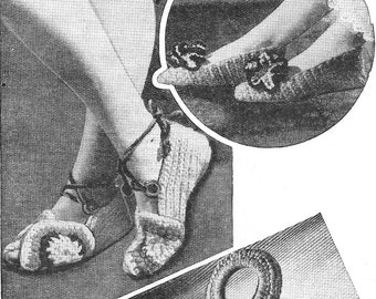 1940's WWII Lady's Slippers Sandals & Bag Size 5 Rug Wool Crochet Pattern  PDF Instant Download