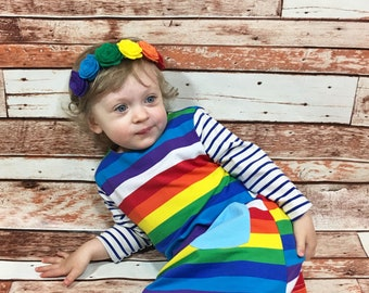 Felt Flower Rainbow Headband- Baby Headband; Rainbow Headband; Felt Flower Headband; Baby Girl Headband; Baby Rainbow Flower Crown