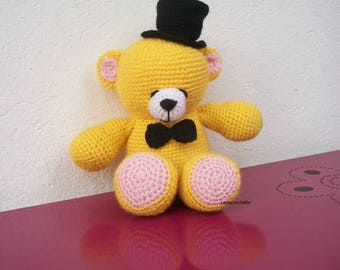 Teddy bear crocheted hat with yellow wool
