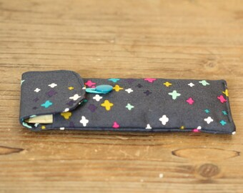 Clever Coffee Sachet Wallet: Funky Grey Print Fabric (doubles as a soft glasses case)