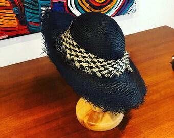Black and white straw hat