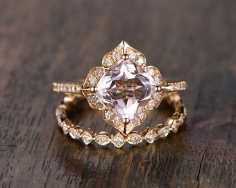 8mm Cushion Cut Pink Morganite Engagement Ring Set Morganite Ring And Diamond Wedding Band in Solid 14K Yellow Gold Bridal Wedding ring set