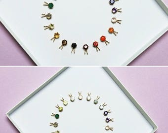 Gemstone Necklace, Birthstone Necklace, Tiny Gemstone Pendant, Gold Necklace, Stone Necklace, Ruby Necklace, Gemstone Jewelry, Gift for Her