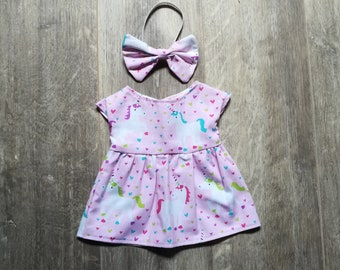 "Doll Clothes ~ 16"" Cloth Doll ~ Pink Unicorn Hearts Dress & Bow Headband"