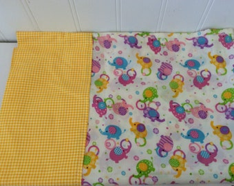 Colorful Elephants Pillow Case - Girls Room - Girls Bedding - Pink Blue Purple - Nursery - Yellow Gingham - Handmade - Jungle Circus Decor
