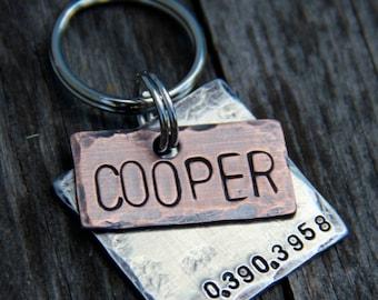 Custom Dog Tag / Pet ID Tag, Cooper, in Mixed Metal - Copper and Aluminum