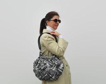 Shoulder Bag Knitted in Black and White Wool - Wool Tote Bag, Tweed Handbag, Womens Hobo Bag, Boho Bag, Cute Long Straps Purse, Winter