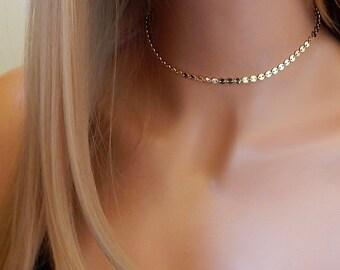 Choker Necklace • Gold Disc Choker • Boho Choker • Silver Choker • Sequin Gold or Silver Coin Choker • Girlfriend Gift Mothers Day Gift