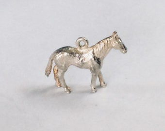 Sterling silver riding horse charm vintage # S 814