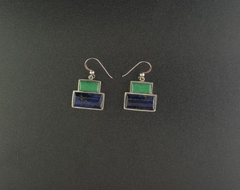 VINTAGE Lapis and Zoisite Box design sterling silver dangle earrings