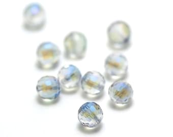 """20/60 beads Crystal """"faceted"""" 8 mm round, iridescent blue green white"""