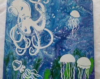 Octopus in jellyfish field