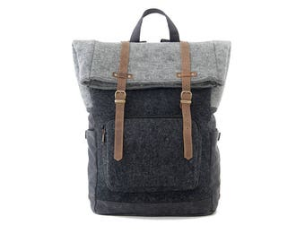 Laptop Backpack / School Backpack / College Bag / Canvas Backpack / Briefcase / Weekender Bag / Travel Backpack  / Wool Black / CITYCARRY
