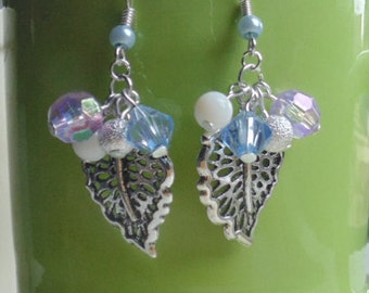 Violet & Baby blue Leaf Charm Cluster Bead Earrings