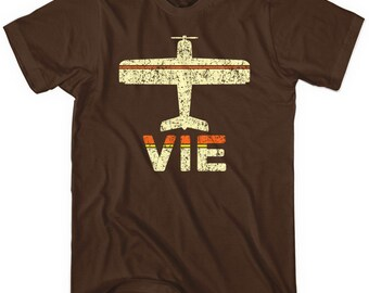 Fly Vienna VIE Airport T-shirt - Men and Unisex - XS S M L XL 2x 3x 4x - Austria Airport Tee - 2 Colors