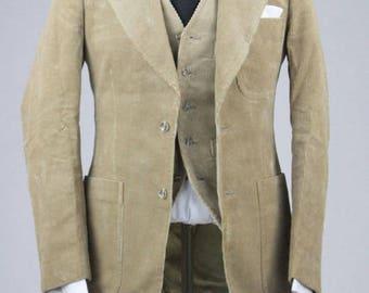 ON SALE Vintage 80s Tan Cotton Corduory 3 Piece Indie Vested Suits 36 R