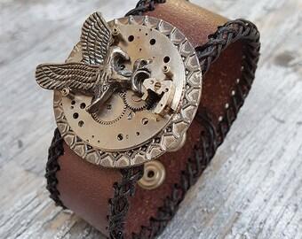Steampunk Eagle Leather Cuff Bracelet -Watch parts Vintage Bracelets-Wristband cuffs- Amazing Girlfriend Ladies  biker gril gift