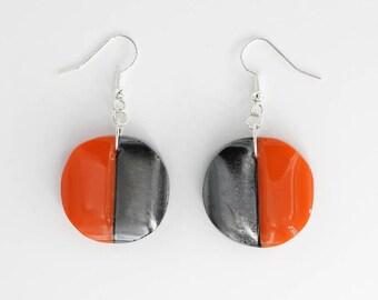 Tomato Red | Drop & Dangle | Earrings | Glass, Sterling Silver