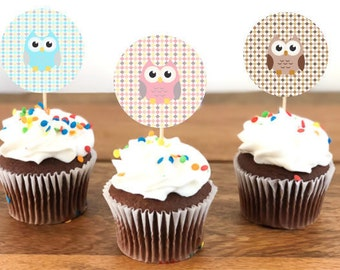 Owls Cupcake toppers/Table Confetti - Blue