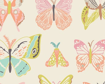 Butterfly Fabric by Art Gallery Fabrics, Wingspan Melon by Bonnie Christine, Butterfly Cotton Fabric