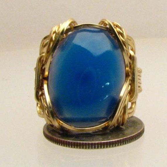 Handmade Solid 14kt Gold Wire Wrap Blue Onyx Ring