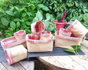 Kitchen storage organization storage basket basket burlap and cotton red and white veronpiotcreation handmade