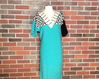 VTG Steve Fabrikant Sweater Deess // Geometric // Neiman Marcus // Size Small