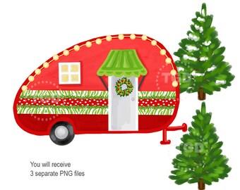 Christmas Vintage, vintage camping, Christmas clip art, vintage camper, Preppy digital paper, camper clipart, Christmas scrapbook paper