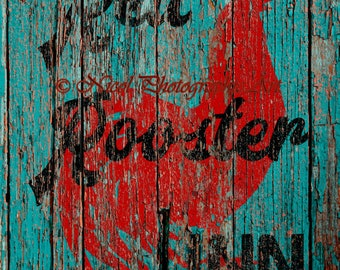 Rustic Red Rooster Inn Teal Country Decor Kitchen Cafe Art Matted Picture A644